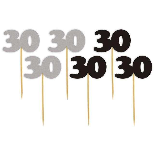 """Pikery """"30 Urodziny Classic"""", srebrno-czarne, 6 szt"""