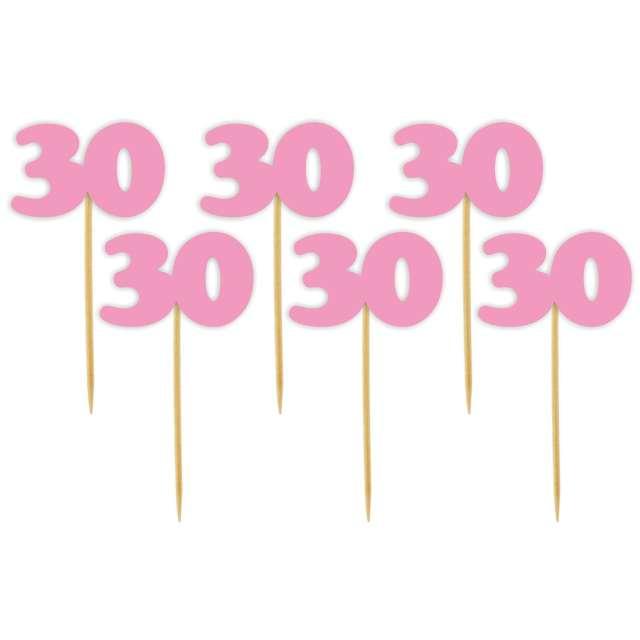 """Pikery """"30 Urodziny Classic"""", różowe, 6 szt"""