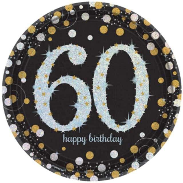 """Talerzyki papierowe """"60 Urodziny - Sparkling Celebrations Gold"""", AMSCAN, 23 cm, 8 szt"""