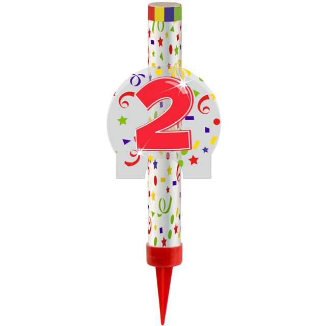 """Fontanna tortowa """" 2 Urodziny - kolorowe"""", FOLAT, 12 cm"""