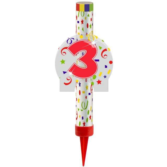"""Fontanna tortowa """" 3 Urodziny - kolorowe"""", FOLAT, 12 cm"""