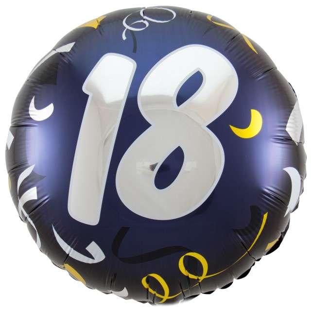 """Balon foliowy """"18 Urodziny"""", FOLAT, czarny, 18"""" CIR"""