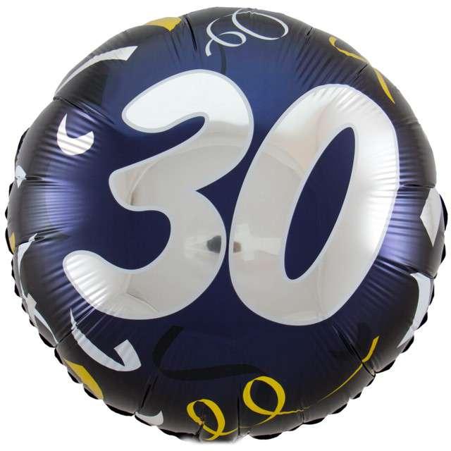 """Balon foliowy """"30 Urodziny"""", FOLAT, czarny, 18"""" CIR"""