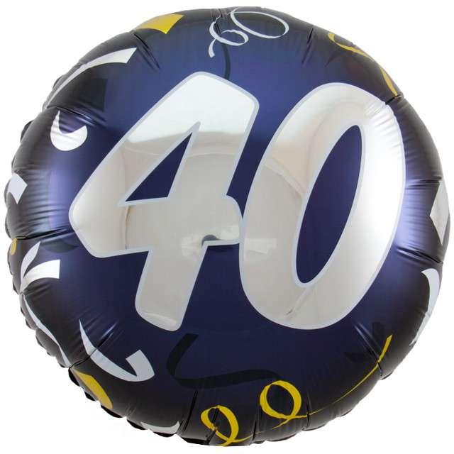 """Balon foliowy """"40 Urodziny"""", FOLAT, czarny, 18"""" CIR"""