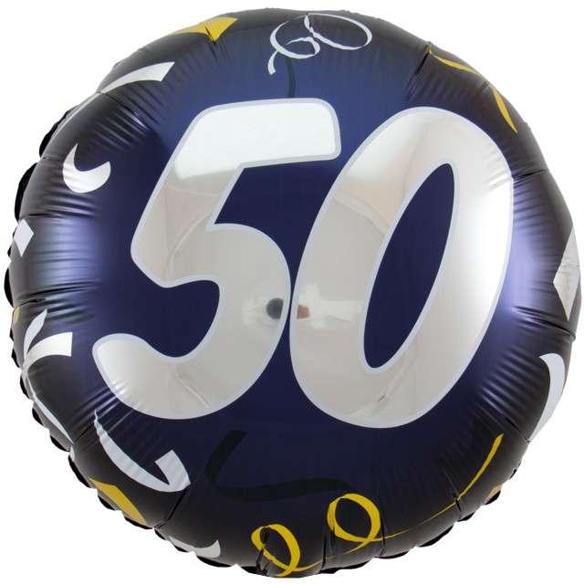 """Balon foliowy """"50 Urodziny"""", FOLAT, czarny, 18"""" CIR"""