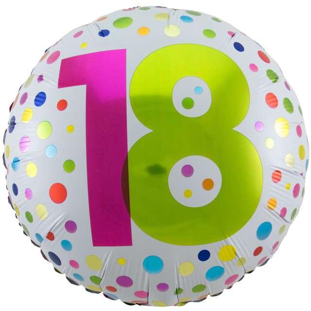 """Balon foliowy """"18 Urodziny - Rainbow"""", FOLAT, biały, 18"""" CIR"""