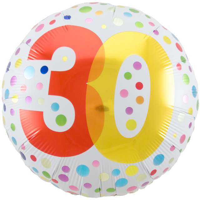 """Balon foliowy """"30 Urodziny - Rainbow"""", FOLAT, biały, 18"""" CIR"""