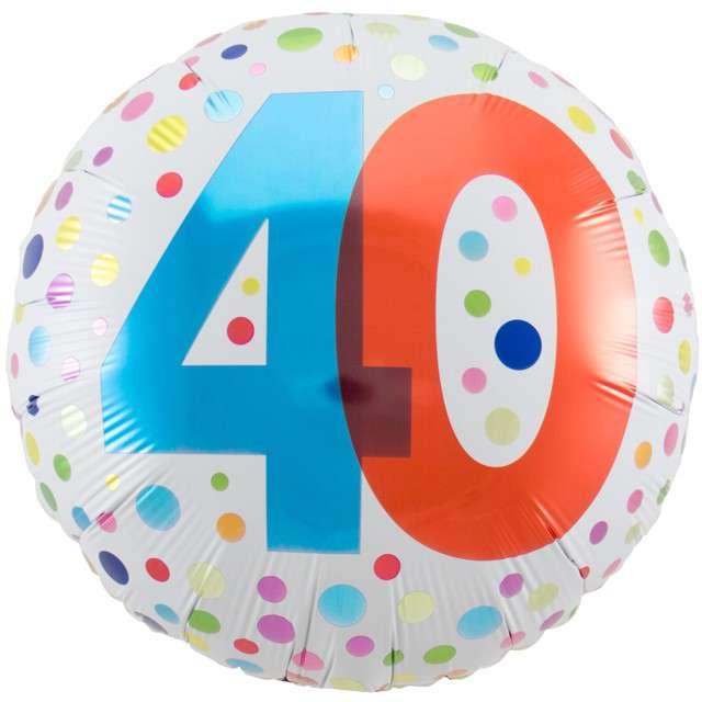 """Balon foliowy """"40 Urodziny - Rainbow"""", FOLAT, biały, 18"""" CIR"""