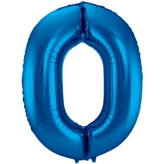 """Balon foliowy cyfra 0, 34"""", FOLAT, niebieska"""