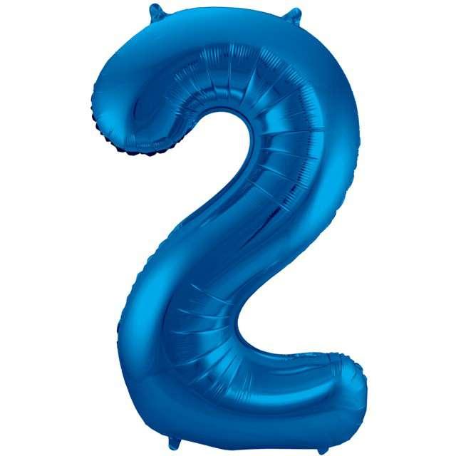 """Balon foliowy cyfra 2, 34"""", FOLAT, niebieska"""