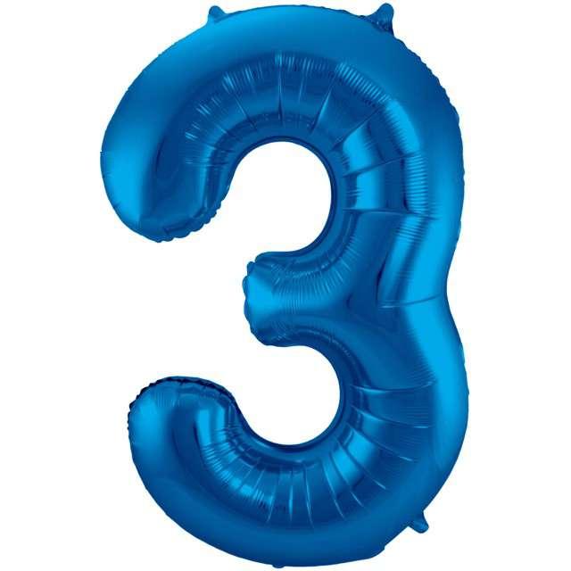 """Balon foliowy cyfra 3, 34"""", FOLAT, niebieska"""