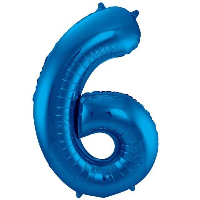 """Balon foliowy cyfra 6, 34"""", FOLAT, niebieska"""