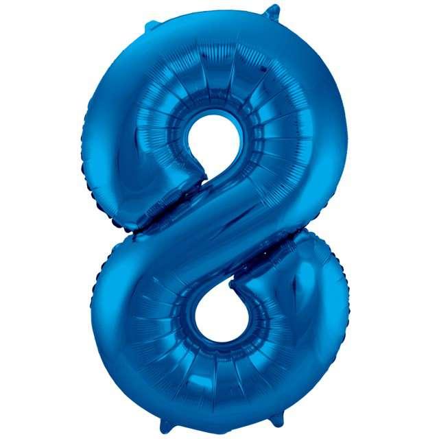 """Balon foliowy cyfra 8, 34"""", FOLAT, niebieska"""