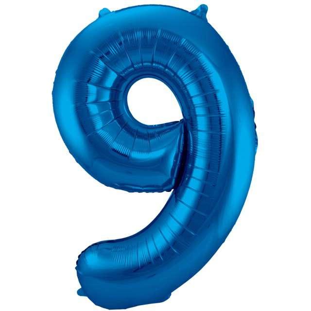 """Balon foliowy cyfra 9, 34"""", FOLAT, niebieska"""
