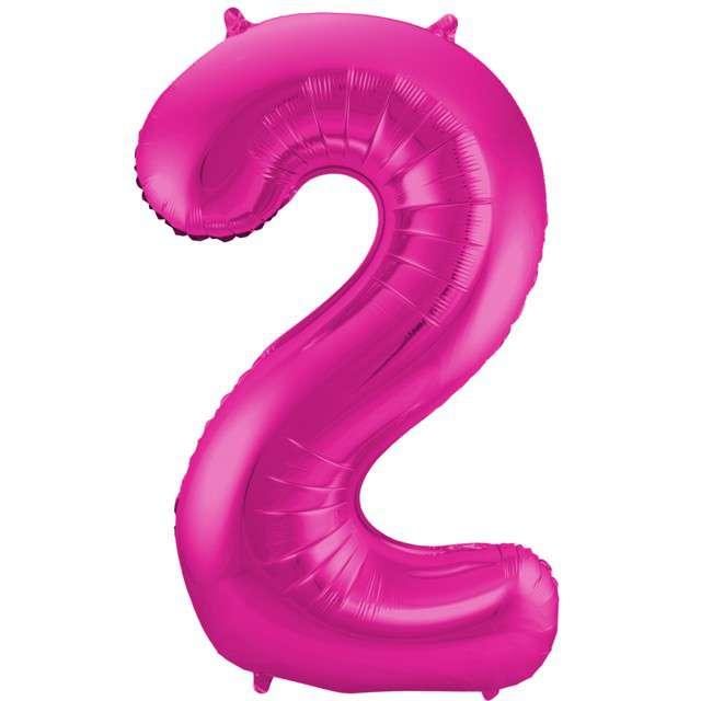 """Balon foliowy cyfra 2, 34"""", FOLAT, różowa"""