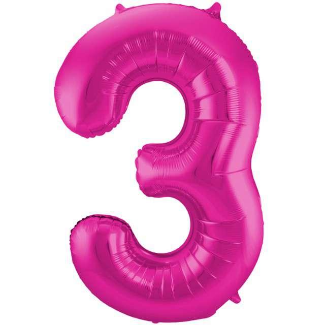 """Balon foliowy cyfra 3, 34"""", FOLAT, różowa"""