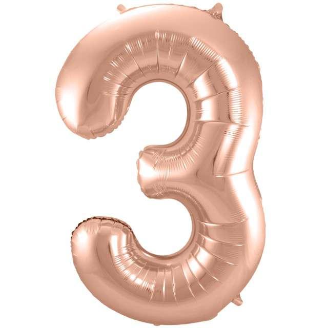 """Balon foliowy cyfra 3, 34"""", FOLAT, szampańska"""