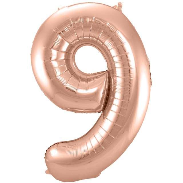 """Balon foliowy cyfra 9, 34"""", FOLAT, szampańska"""