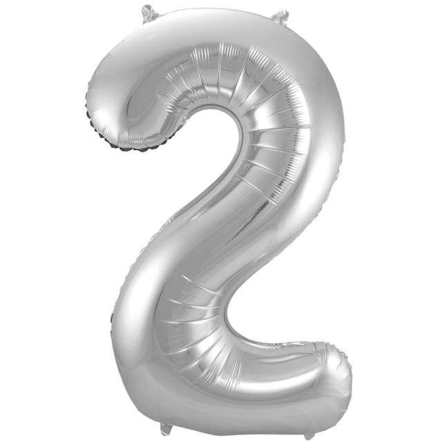 """Balon foliowy cyfra 2, 34"""", FOLAT, srebrna"""