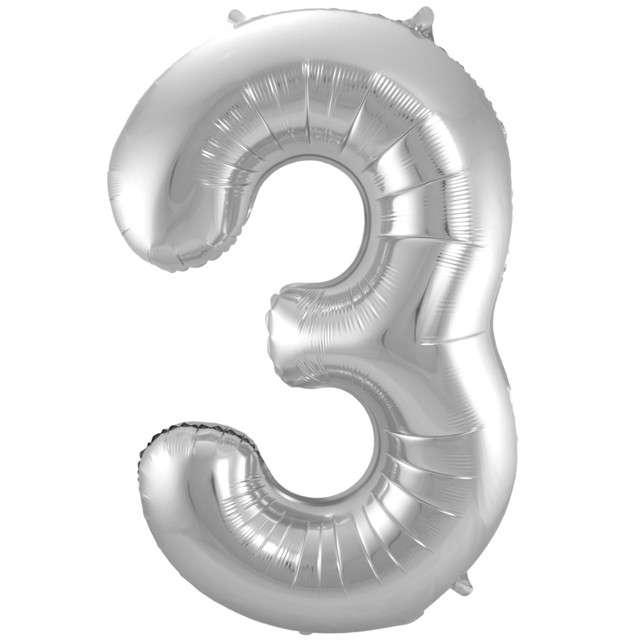 """Balon foliowy cyfra 3, 34"""", FOLAT, srebrna"""