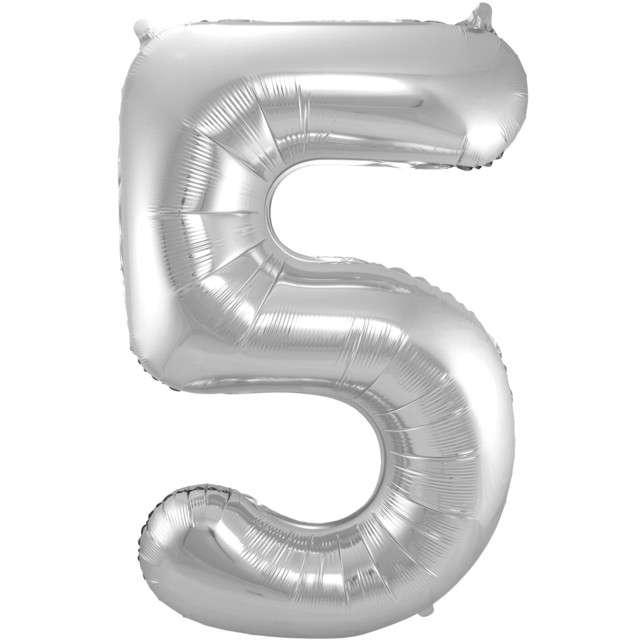 """Balon foliowy cyfra 5, 34"""", FOLAT, srebrna"""