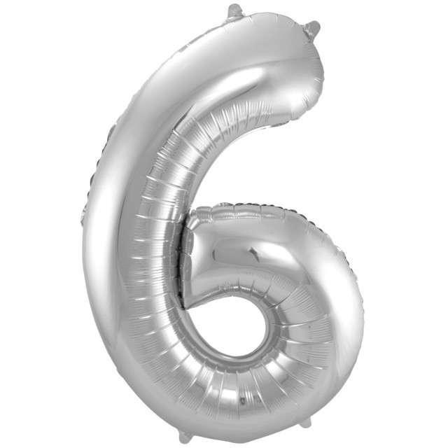 """Balon foliowy cyfra 6, 34"""", FOLAT, srebrna"""