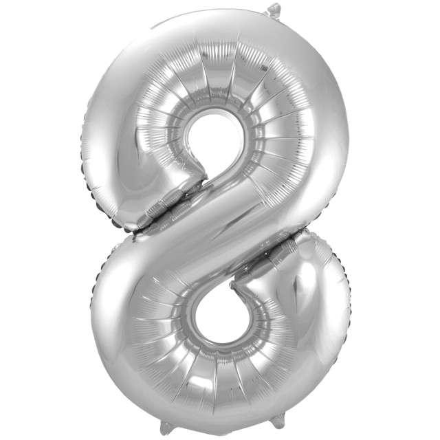 """Balon foliowy cyfra 8, 34"""", FOLAT, srebrna"""