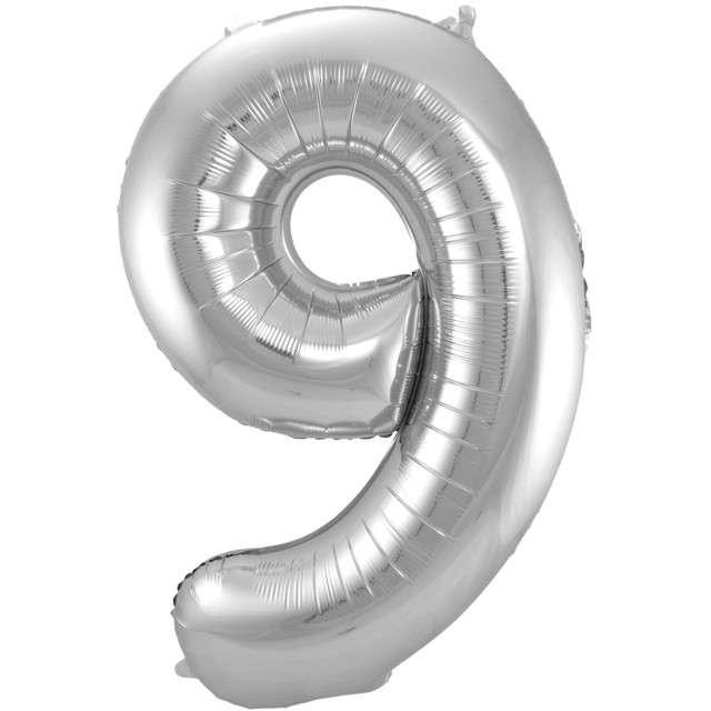 """Balon foliowy cyfra 9, 34"""", FOLAT, srebrna"""