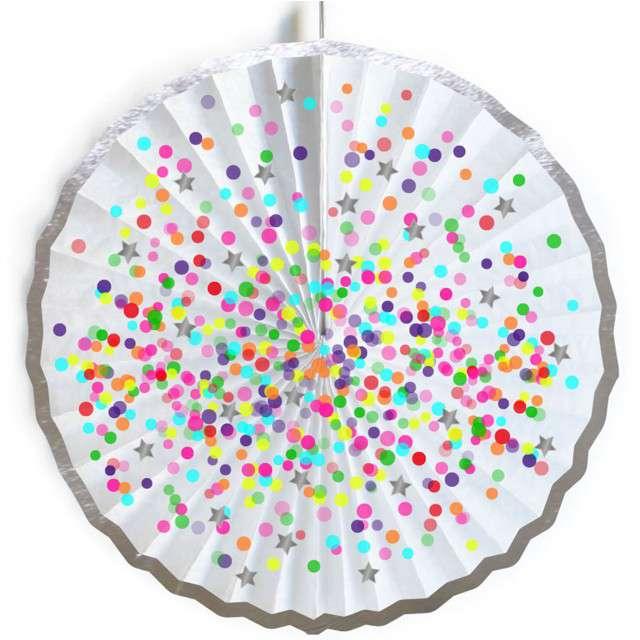 """Rozeta wisząca """"Kolorowe Konfetti"""", biała, 45 cm"""