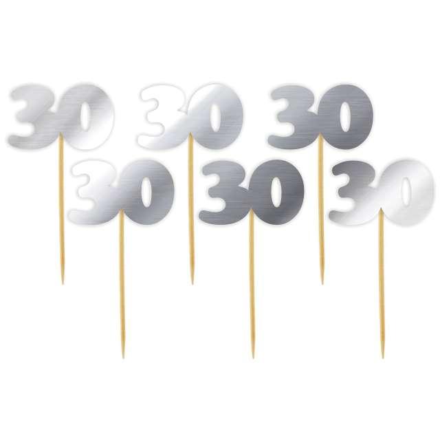 "Pikery ""30 Urodziny Classic"", srebrne metalik, 6 szt"
