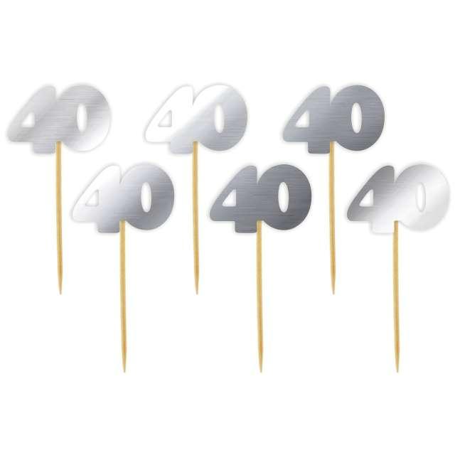 "Pikery ""40 Urodziny Classic"", srebrne metalik, 6 szt"