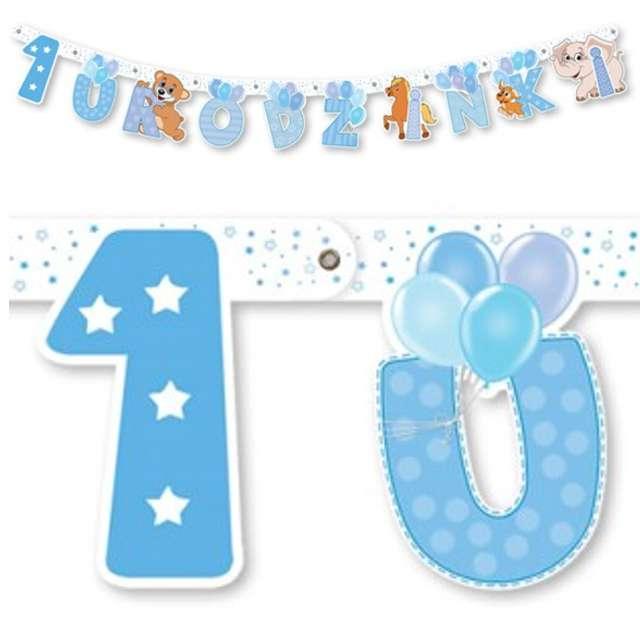 """Baner """"1 urodzinki"""", błękitny, 159 cm"""