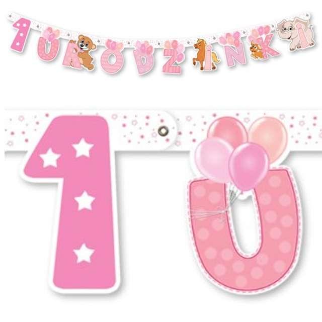 """Baner """"1 urodzinki"""", różowy, 159 cm"""