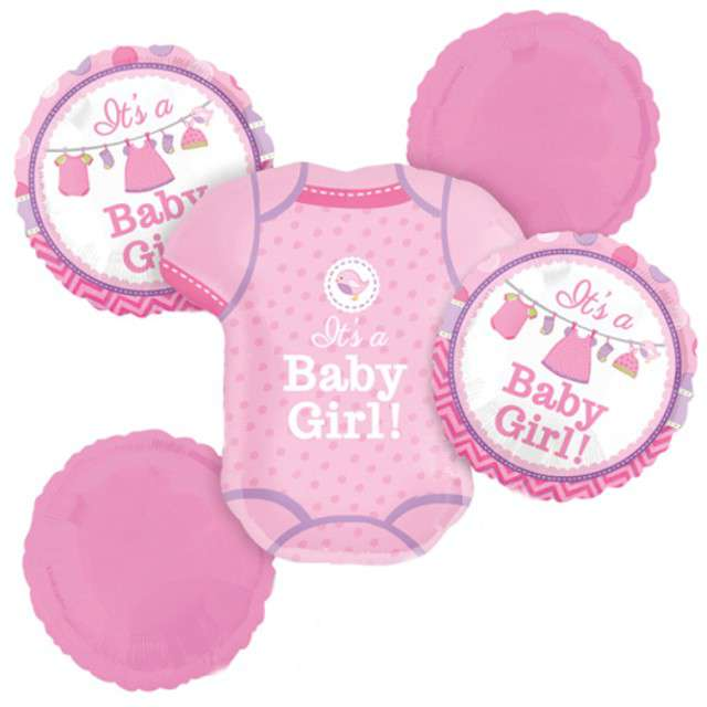"Balon foliowy ""Shower with Love Girl"", AMSCAN, zestaw"