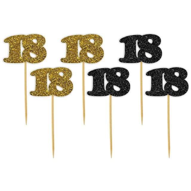 """Pikery """"18 Urodziny Classic"""", złoto-czarne brokatowe, 6 szt"""