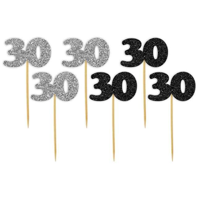 """Pikery """"30 Urodziny Classic"""", srebrno-czarne brokatowe, 6 szt"""