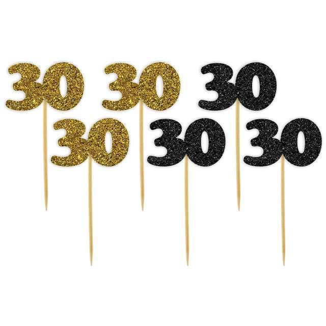 """Pikery """"30 Urodziny Classic"""", złoto-czarne brokatowe, 6 szt"""