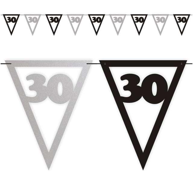 """Baner flagi """"Urodziny 30"""", czarno-srebrny, 3,6 m"""