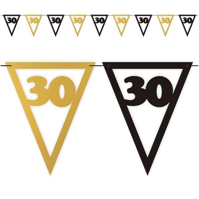 """Baner flagi """"Urodziny 30"""", czarno-złoty, 3,6 m"""