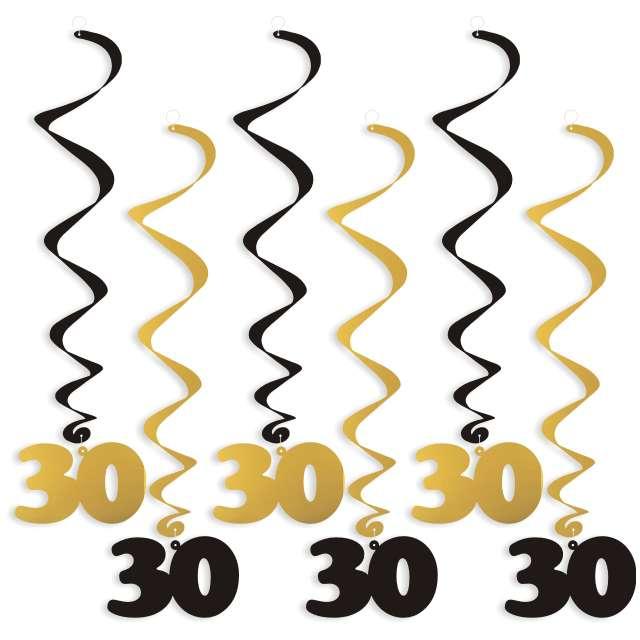 """Świderki wiszące """"Urodziny 30"""", czarno-złote, 6 szt"""
