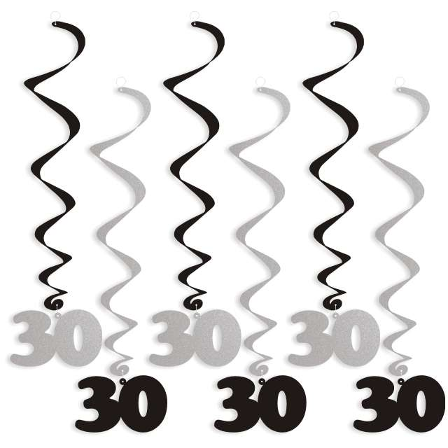 """Świderki wiszące """"Urodziny 30"""", czarno-srebrne, 6 szt"""