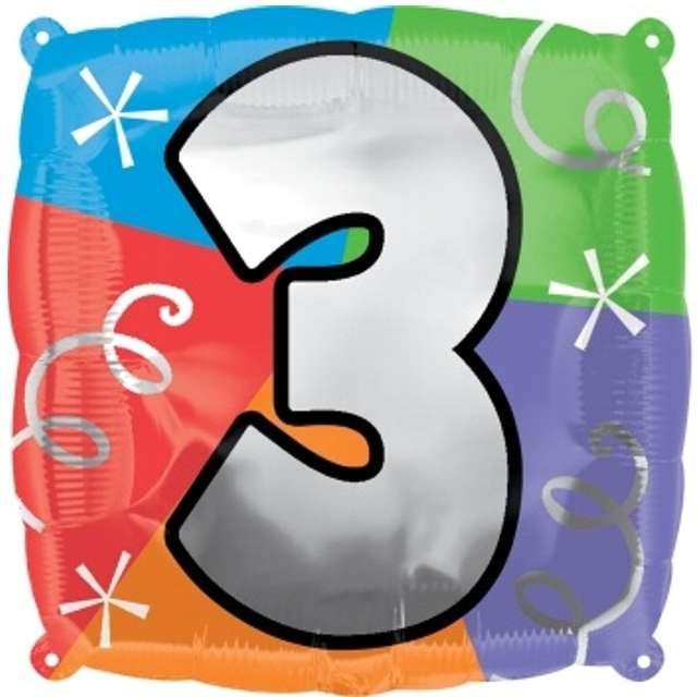 """Balon foliowy """"Cyfra 3"""", AMSCAN, 18"""" SQR"""