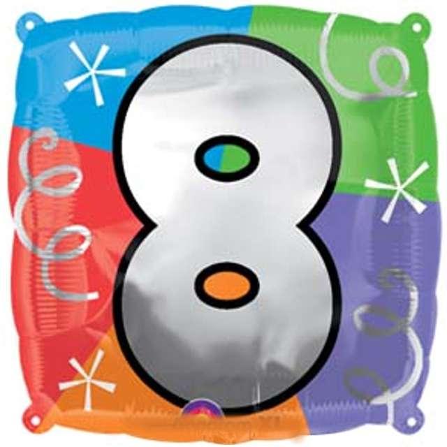 """Balon foliowy """"Cyfra 8"""", AMSCAN, 18"""" SQR"""