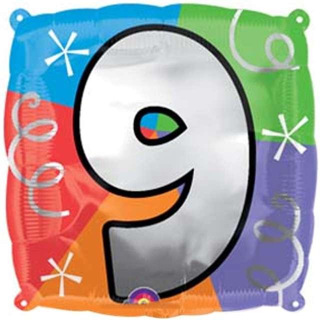 """Balon foliowy """"Cyfra 9"""", AMSCAN, 18"""" SQR"""