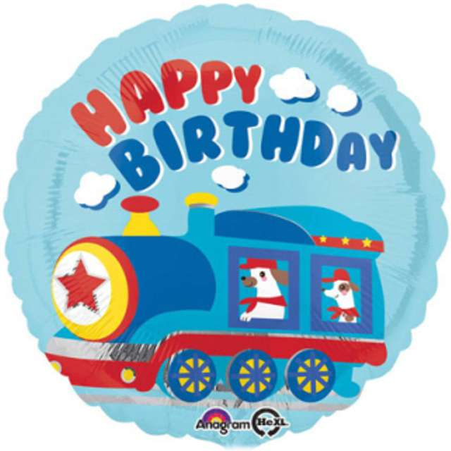 "Balon foliowy ""Happy Birthday Pociąg"", AMSCAN, 17"" CIR"