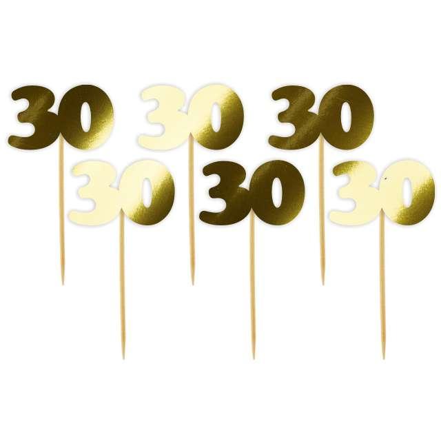 """Pikery """"30 Urodziny Classic"""", złote metalik, 6 szt"""