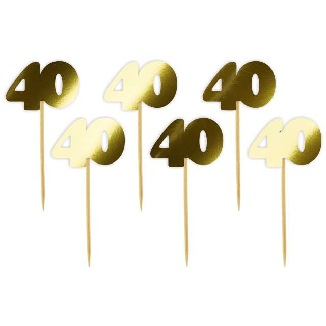 """Pikery """"40 Urodziny Classic"""", złote metalik, 6 szt"""