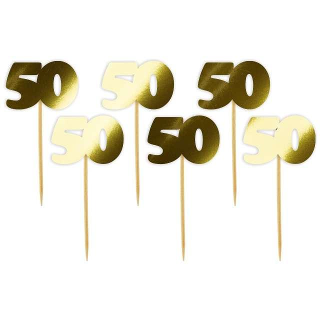 """Pikery """"50 Urodziny Classic"""", złote metalik, 6 szt"""