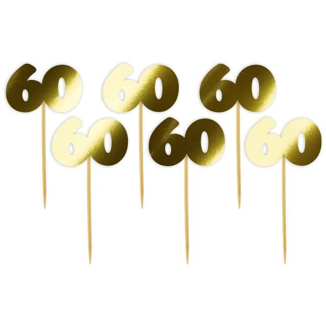 """Pikery """"60 Urodziny Classic"""", złote metalik, 6 szt"""