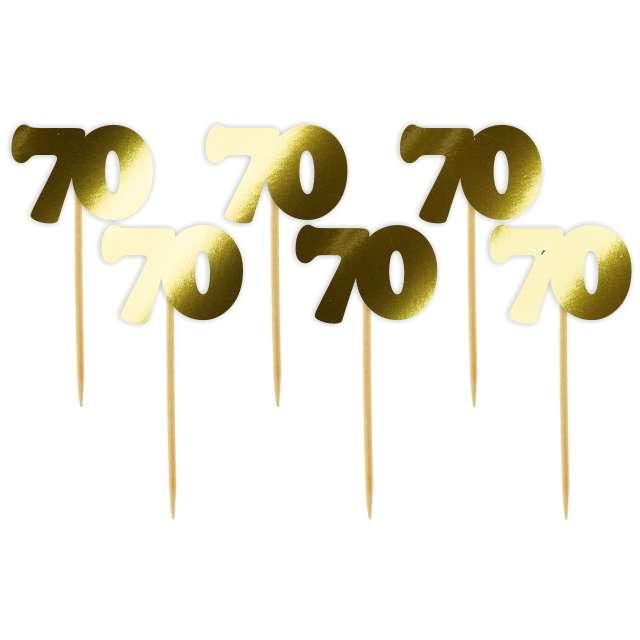 """Pikery """"70 Urodziny Classic"""", złote metalik, 6 szt"""